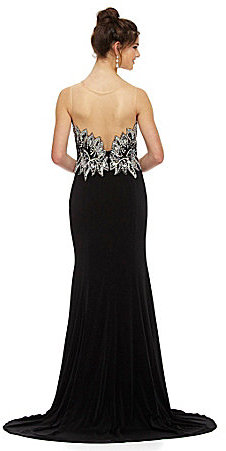 Jovani JVN by Illusion Sequin-Leaf Gown