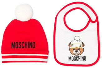 Moschino Kids beanie and bib set