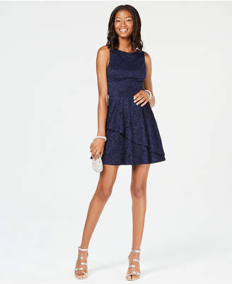 Speechless Juniors' Lace Tiered Fit & Flare Dress, Created for Macy's