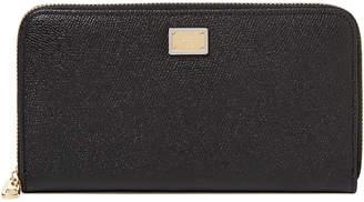 Dolce & Gabbana Dauphine Leather Zip Around Wallet