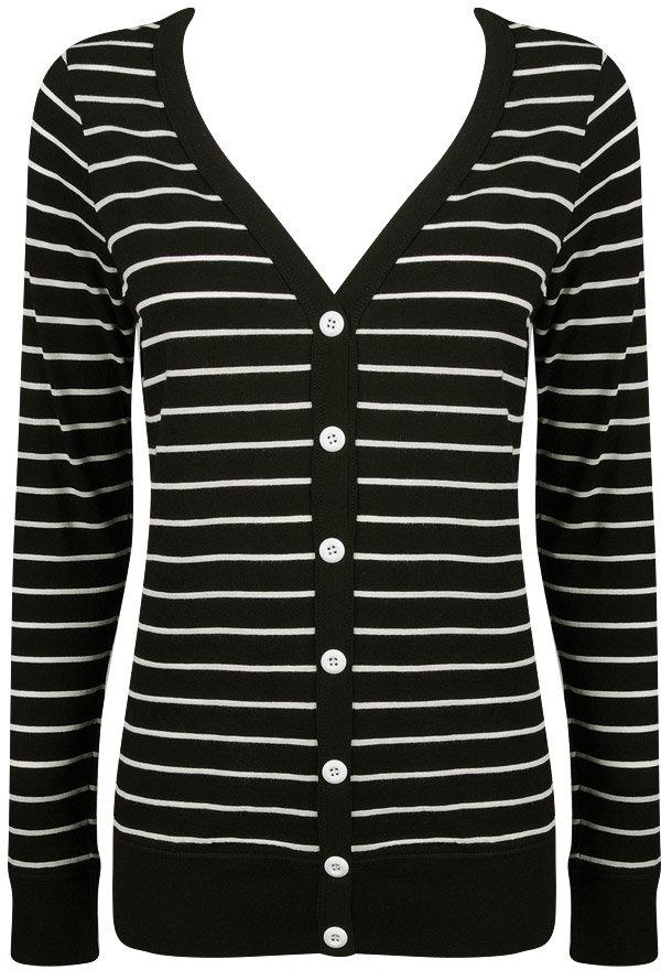 Striped Jersey Knit Cardigan