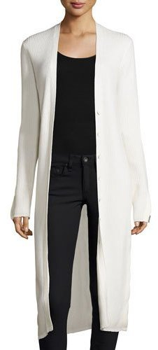 3.1 Phillip Lim 3.1 Phillip Lim Long Ribbed Wool-Blend Cardigan, White