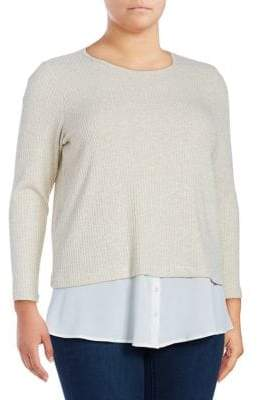 Calvin Klein Plus Plus Textured Long-Sleeve Blouse
