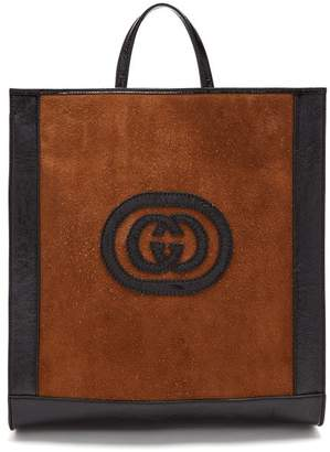 Gucci - Logo Front Suede Tote - Womens - Black Brown
