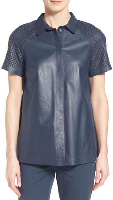 Lafayette 148 New York Ingrid Leather Blouse $748 thestylecure.com