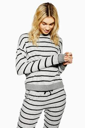 Topshop Grey Stripe Super Soft Sweatshirt