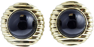 One Kings Lane Vintage Cabochon Onyx Set in Gold Frame Earrings - Owl's Roost Antiques