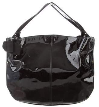 Salvatore Ferragamo Patent Leather Hobo Black Patent Leather Hobo