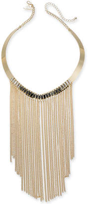 "Thalia Sodi Gold-Tone Crystal & Chain Fringe Statement Necklace, 5-1/2"" + 3"" extender"