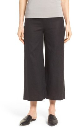 Women's Eileen Fisher Wide Leg Organic Linen Crop Pants $178 thestylecure.com