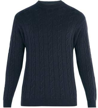Connolly - Clarke Crew Neck Cable Knit Cashmere Sweater - Mens - Navy