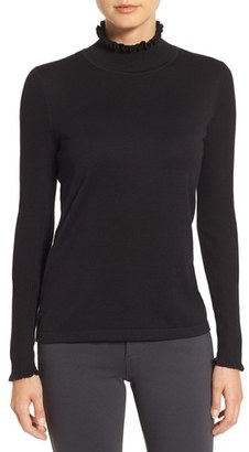 Women's Cece Rib Sleeve Ruffle Trim Turtleneck $89 thestylecure.com