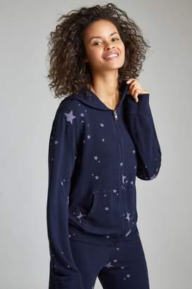 Monrow Zip Up Hoody W/ Printed Stardust