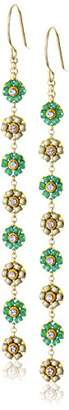 Miguel Ases Green Jade and Swarovski Dainty-Floral Drop Earrings