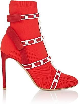 Valentino Women's Rockstud Knit Multi-Strap Ankle Boots