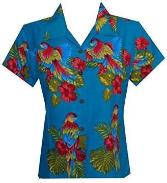 Alvish Hawaiian Shirt 39W Women Parrot Flower Aloha Beach Top Blouse XL