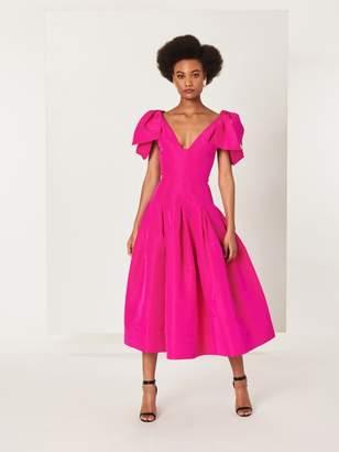 Oscar de la Renta Draped Silk-Faille Cocktail Dress