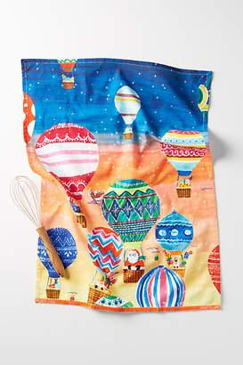 Anthropologie Santa Balloon Dish Towel