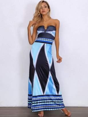 e5679dc2d03 Shein Joyfunear Color-block Split Thigh Maxi Tube Dress