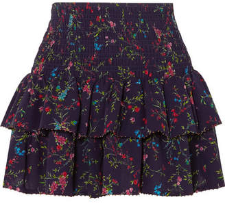 Paloma Blue - Cabana Tiered Floral-print Silk Skirt - Navy