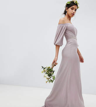 TFNC Bardot Maxi Bridesmaid Dress With Sleeve Drama And Embellished Waist