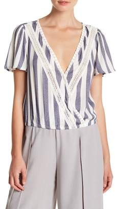 Sadie & Sage Striped Surplice Neck Tee