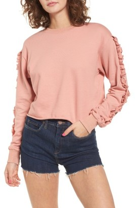 Women's Soprano Ruffle Trim Sweatshirt $35 thestylecure.com