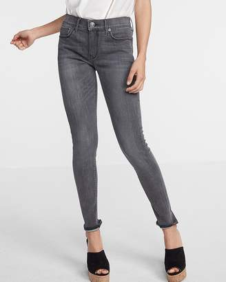 Express Mid Rise Ripped Washed Gray Jean Leggings