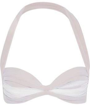 Norma Kamali Ruched Mesh Halterneck Bikini Top