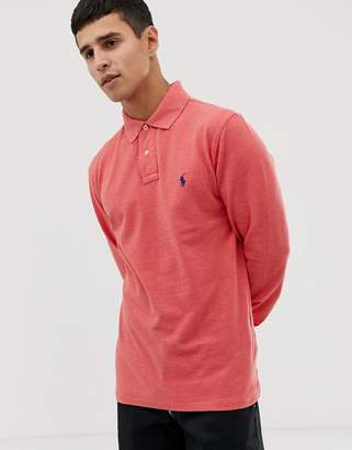 8214f3db8a7b34 Polo Ralph Lauren slim fit long sleeve pique polo in red marl