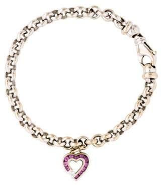 Charles Krypell 18K Diamond & Sapphire Heart Charm Bracelet white 18K Diamond & Sapphire Heart Charm Bracelet
