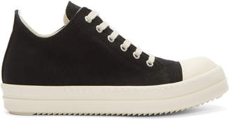 Rick Owens Black and Off-White Canvas Low Sneakers