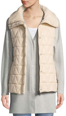 Eileen Fisher Chevron Quilted Snap-Front Vest, Petite