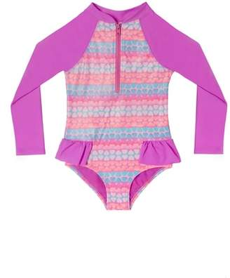 Hula Star Hearts Galore One-Piece Rashguard Swimsuit