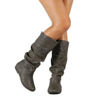 cacdf955c6e V-DOTE Womens Ladies Knee High Boots Soft Leather Wide Calf Sexy Mid Calf  Boots