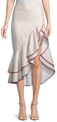 Alexis Garnet Striped Ruffle High-Low Skirt
