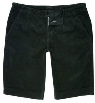 River Island Mens Dark green cord slim fit shorts