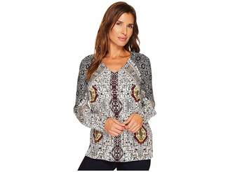 Tribal Long Sleeve V-Neck Printed Blouse Women's Blouse