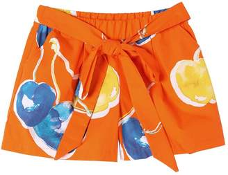 MSGM Cherry Print Cotton Poplin Shorts