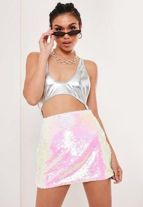 Missguided Petite White 2 Way Sequin Mini Skirt