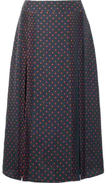 Burberry - Pintucked Polka-dot Silk Midi Skirt - Navy