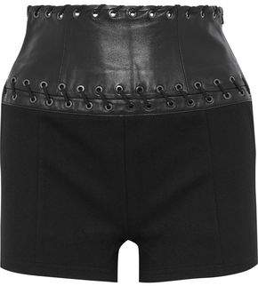 Pierre Balmain Whipstitched Leather-Paneled Stretch-Jersey Shorts