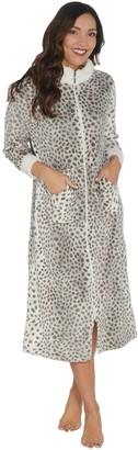 Stan Herman Petite Printed Silky Plush Robe with Sherpa Trim 6cbb3416a
