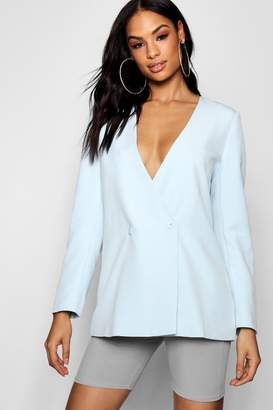 boohoo Collarless Double Breasted Duster Jacket