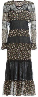 Philosophy di Lorenzo Serafini Printed Silk Dress with Lace