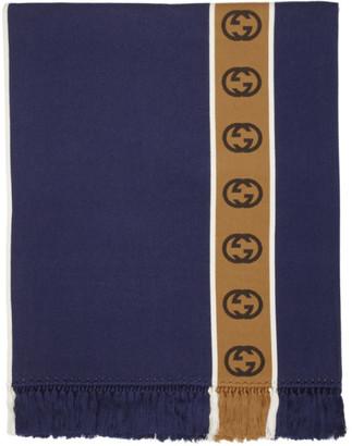 Gucci Navy Wool Interlocking G Stripe Poncho