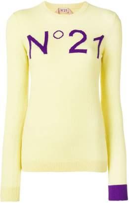 No.21 contrast logo jumper