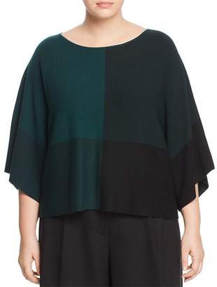 Eileen Fisher Plus Cropped Bateau Neck Color Block Top