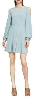 BCBGMAXAZRIA Bailey Cold-Shoulder Button-Detail Dress