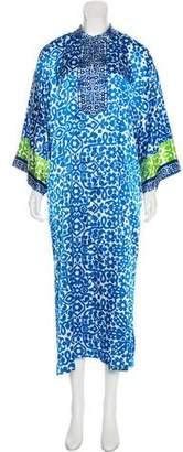 Oscar de la Renta Printed V-Neck Nightgown